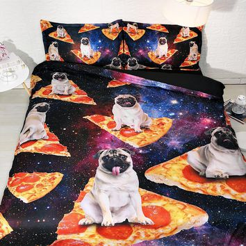JF-532 Lovely bulldog bedding set Queen king duvet quilt cover 4pcs galaxy pizza HD Digital print bed linens single double full