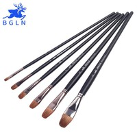 Bgln 6Pcs/set Weasel Hair Professional Watercolor Paint Brush Pointed Watercolor Acrylic Painting Brush Art Supplies HB-S43