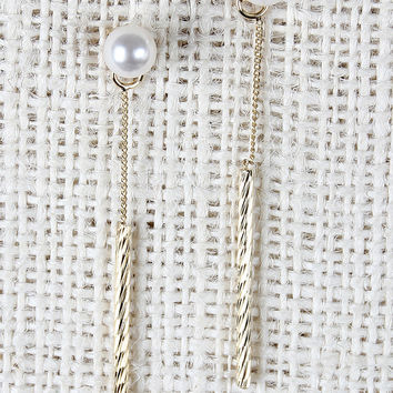 Pearl And Bar Drop Jacket Earrings
