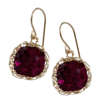 Swarovski Ruby earrings , sparkly red dangle earrings in gold filled
