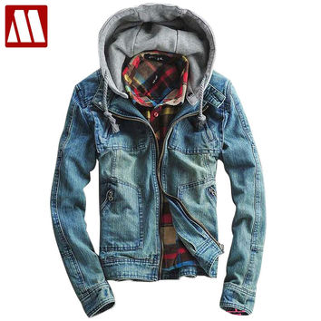 Men's Hoody Cotton Jacket coat hooded outerwear Winter denim jackets for Men Jeans coat cowboy wear
