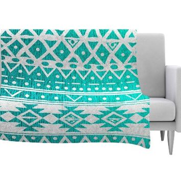 "KESS InHouse Nika Martinez ""Aquamarine Tribal"" Teal Blue Fleece Throw Blanket, 40 by 30-Inch, 40"" X 30"""""