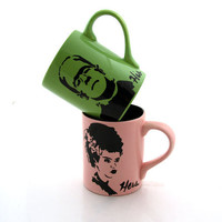 His and Hers Frankenstein Monster and Bride Mug Set by LennyMud