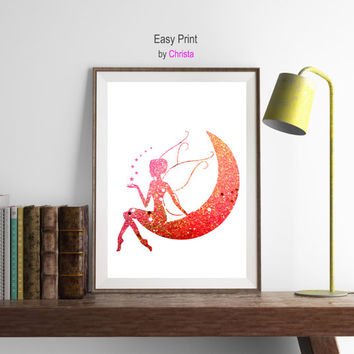 Fairy Print Fairy printable Wall decor Nursery decor Girls room Glitter Pink Inspirational art Fairy on the moon  Wall art Instant download