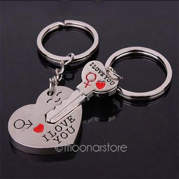 DCCKIX3 Good Couple Keychain Valentine's Day Lover Gift Keyring Key fob Heart Key = 1929694980