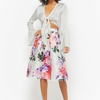Pleated Floral Flare Skirt