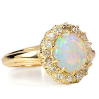 Kaleidoscope of Color: Antique Opal Diamond Ring - The Three Graces