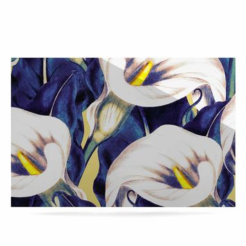 "mmartabc ""Pattern Calla Lily Flower"" Blue Yellow Floral Vintage Illustration Digital Luxe Rectangle Panel"
