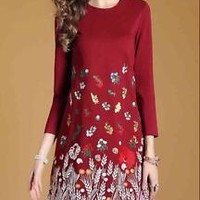 Ivanka Trump Style Vintage A-line Embroidery Printed O-neck Clothing for Women