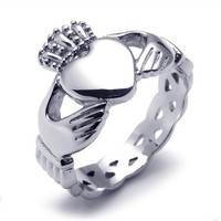 Titanium Steel Crowned Heart Ring-Size 7
