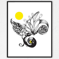 whimsical art Hand illustrated Art Print Floral print Wall art Abstract drawings Unique wallart black and white art Pen & Ink drawing Decors