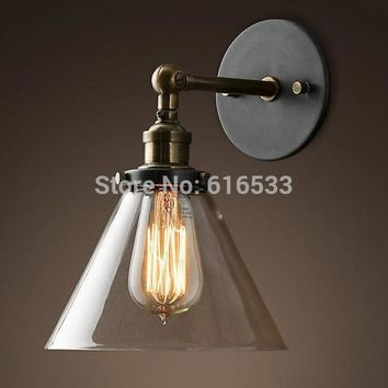 Loft Vintage Industrial Retro Lustre Glass Copper Edison Wall Sconce Lamp Bathroom Bedroom Mirror Home Decor Lighting Fixture