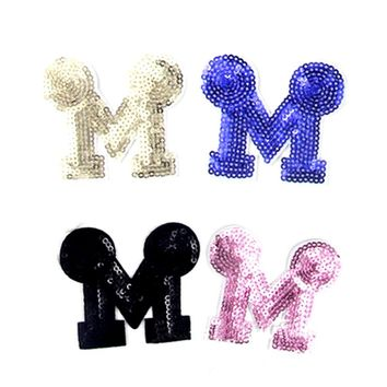 10pc letter M sequin embroidered patches for clothing costume jeans jacket sew iron on stripes clothes badge motif appliques bag