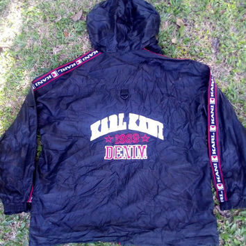 Vintage 89s karl kani big logo windbreaker sports swag bomber jacket