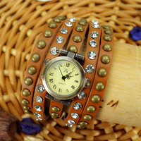 Men Women Gothic Rivet  Luxury Rhinestone  Multi- Straps Leather Brown Watch