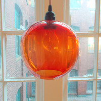 Halloween Orange Poppy Hanging Art Glass Pendant Globe Light by Rebecca Zhukov