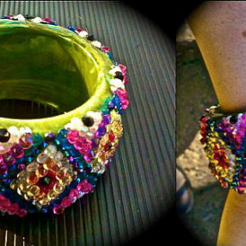 one of a kind, hand embellished bangle