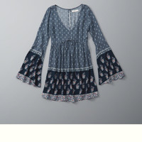 Printed Caftan Babydoll Dress