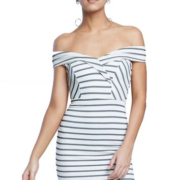 Surplice V-Neck Off-the-Shoulder Striped Mini Dress