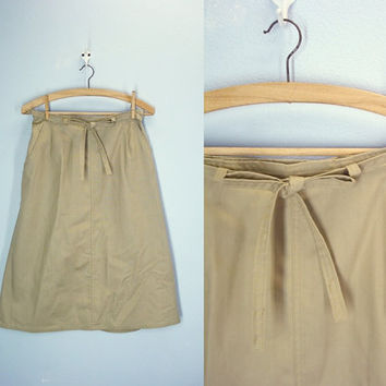 Vintage 70s Wrap Around Skirt / Khaki Skirt / Twill Size Medium
