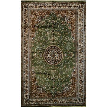 Oriental Karachi Pakistani Silk and Wool Oriental Rug, Green/Beige