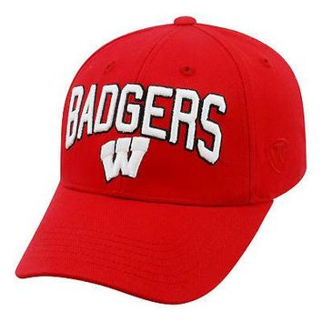 Licensed Wisconsin Badgers Official NCAA Adjustable Overarch Hat Cap by Top of the World KO_19_1