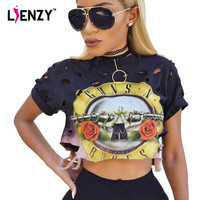 LIENZY Summer Style Gradient GNR T Shirts Hole Colorful Fashion Punk Rock Black Print Guns And Roses Vintage Ladies Crop Top