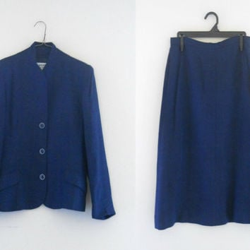 Vintage Diane Von Furstenberg Navy Blue Skirt Suit Women Suit A Line Skirt Navy Blue Blazer Women Work Clothes Designer Clothing Ladies
