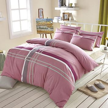 Home Textile Cross Stripes 4pcs Bedding Set