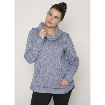Plus Stratus Slub Sweater Knit Cowl Neck Pullover