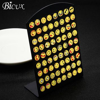 BICUX Fashion Hot Cute Emoji Expression Silver Metal Stud Earrings for Women Party Simple Personality 36 Pairs Earring Jewelry