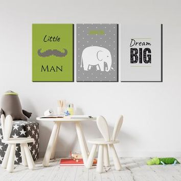 Green and Gray Nursery and Kids Room Wall Art Canvas | Personalized Kids Room Decor