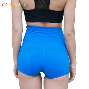 Colorvalue Tummy Control Jogger Running Shorts Women Widen Waistband Fitness Gym Shorts Skinny High Waist Yoga Athletic Short