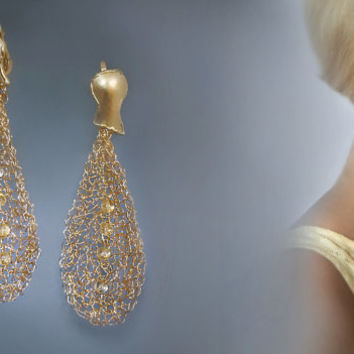 Crocheted gold filled wire jewelry  earrings. Free shipping