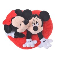 Disney Store Japan Valentine Mickey and Minnie Heart Plush New with Tags