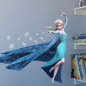 Cartoon QUEEN ELSA wall Decal Removable WALL STICKER Wall Art for Children's kids rooms Bedroom