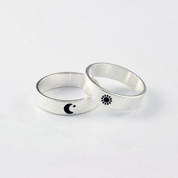 1pcs Vintage Supernatural Moon And Sun Ring Lettering Promise Couples Rings BFF Knuckle Anelli Anillos Valentine's' Day Gifts