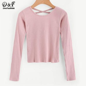 Crisscross Back Ribbed Sweater Autumn Pink Tight Pullovers Women Round Neck Long Sleeve Sweater