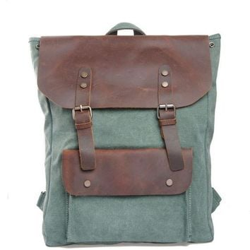 Vintage Leisure College Women Bag Leather Large Canvas Travel Backpack