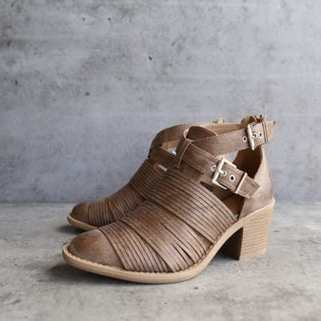 lust valley strappy cutout ankle bootie - taupe