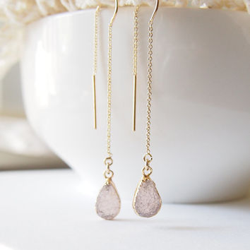 Druzy Earrings Golden Teardrop Dangle Earrings Gold Threader Earrings Chain Earrings
