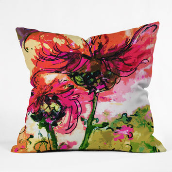 Ginette Fine Art Crazy Wildflowers Outdoor Throw Pillow
