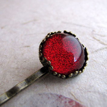 Ruby Sparkle Petite Crown Hair Pin in Antiqued Brass