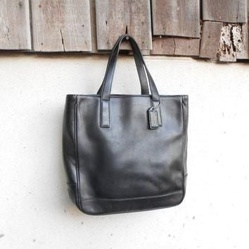 Vintage Leather Bag COACH No.GOS-7787 Black Leather Tote Hand Bag / Small / Gift for H