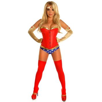 Adult Sexy Gold PVC/Red Leather Corset Top with Panties Wonder Woman Cosplay Superhero Superwoman Halloween Costumes