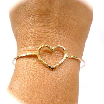Gold Heart Bangle, Hammered Bracelet, Hawaii Beach Jewelry, Love, Gift for Her, Bridal Jewelry