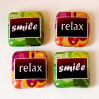 Relax Smile Decoupage Square Wood Beads by KikayKorner on Zibbet