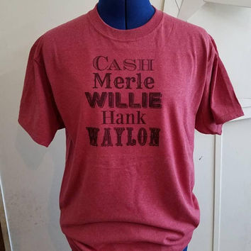 Country - western - cash - hank - Willie - Waylon - merle - music -  tee  - t - shirt- short - sleeve - country - music - shirt