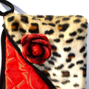 Cheetah faux fur  wallet / wristlet with rose  w/zipper Big enough 4 Make-up Perfect for Bridesmaids Gift
