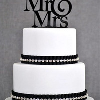 Black Mr & Mrs Wedding Acrylic Cake Topper by Forbes Favors